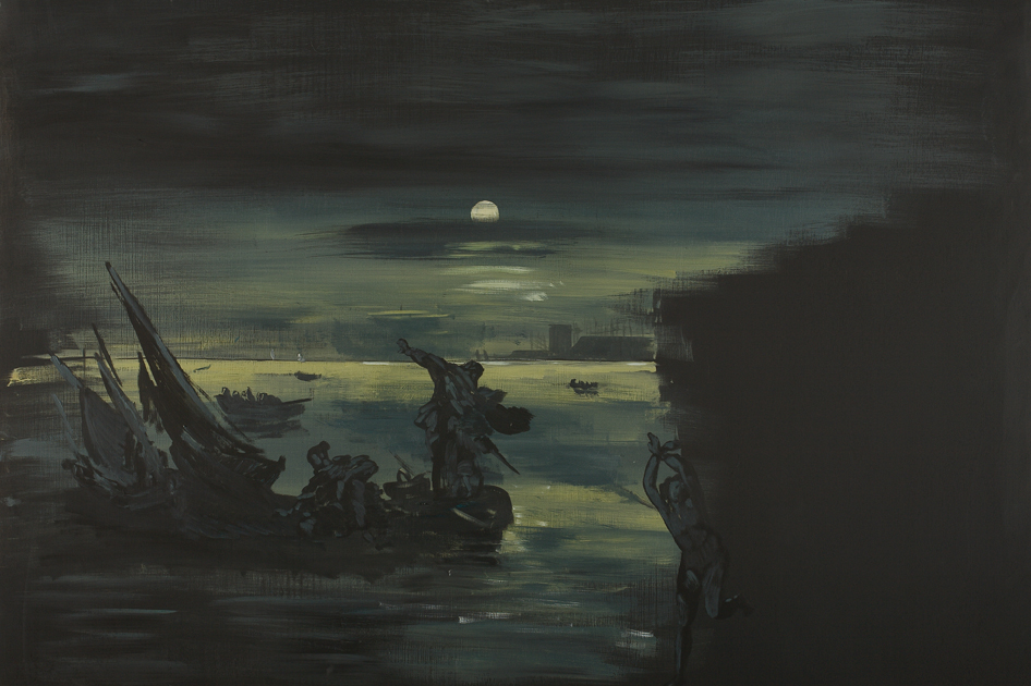 Eti Jacobi, Landscape with a Girl and Boats, 2007 80x120cm Acrylic on Plywood